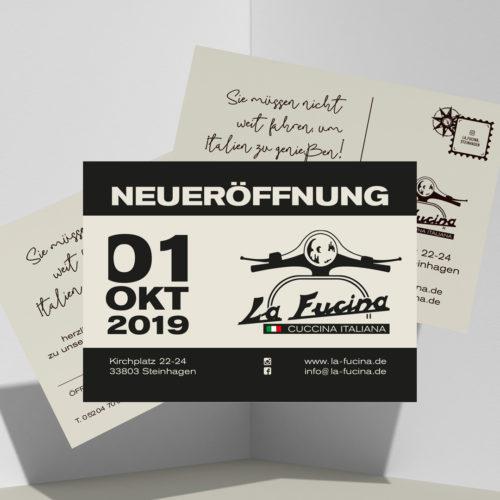 primomedia guetersloh werbeartikel werbeagentur gestaltung La Fucina Postkarten